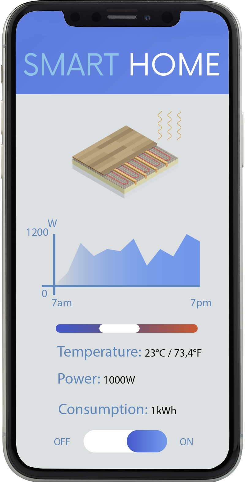 Smartphone shows how to control underfloor heating